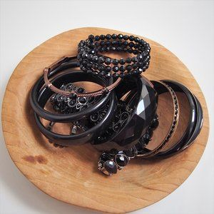 11 Bracelet Bundle Black Bangles/Stretch Bracelets